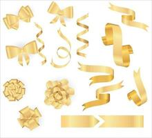 Golden ribbons collection. Vector realistic yellow bow with shadow isolated on white. Christmas decorations