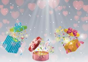 Valentines Day background with gift box under spotlights vector