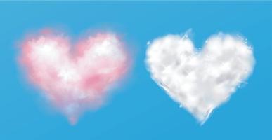 Nubes de corazón rosa y blanco sobre fondo aislado, vector