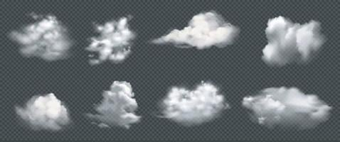 Set of realistic clouds, vector