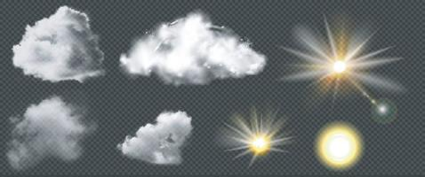Set of realistic clouds and sun, vector