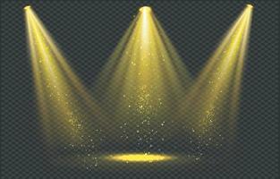 Golden spotlight beams with gold sparkles, vector