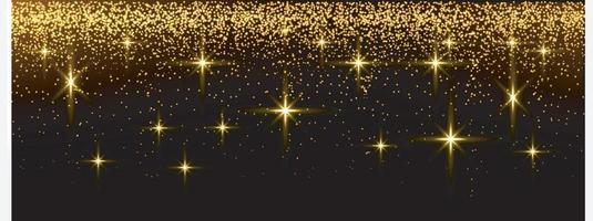 Gold glitter and stars on isolated background. vector