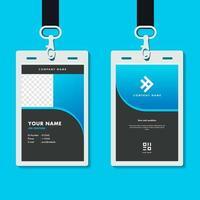 professional corporate id card template, elegant dark blue id card design with realistic mockup vector