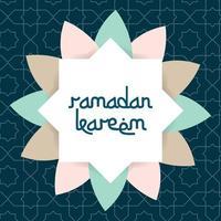 tarjeta de felicitación de ramadan kareem con marco de vector de ornamento islámico