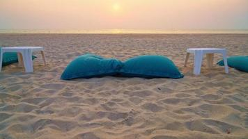 Beach Bean bags with Ocean Background video