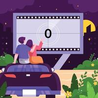 Flat Design Drive-in Movie Theater vector