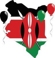 bandera del mapa de kenia vector