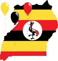 bandera del mapa de uganda vector
