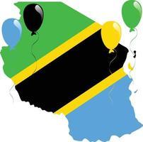 bandera del mapa de tanzania vector