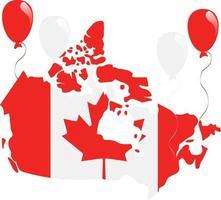 canadá mapa y bandera vector