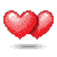 Double Heart pixel concept. Vector illustration
