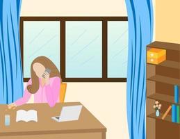 Work anywhere. Online modern communication technology. Women working on internet via laptop. Be connected everywhere. Freelance, social media. vector