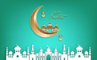 vector de eid mubarak ramadan kareem que desea festival islámico sobre fondo verde.