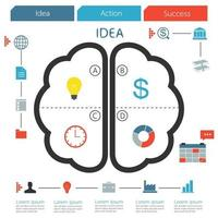 Brain infographic creative idea. Step of business concept. Vector illustration