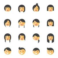 Hairstyles emotions flat color icons. Vector illustration