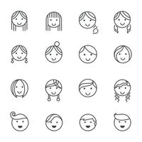 Hairstyles emotions line icons. Vector illustration