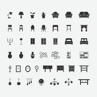 vector illustration of home furniture isolated icon set.