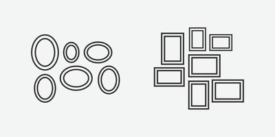 vector illustration of picture frame icons.