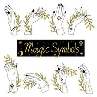 Set of alchemy esoteric mystical magic celestial talisman with woman hands vector