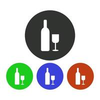 Wine Bottle Icon On Background vector