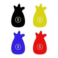 Money Bag Icon On Background vector