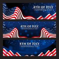 4th of July Banner with Realistic American Flag