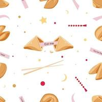 Seamless Cookie Pattern with predictions and beads vector