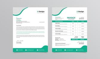 Travel agency branding identity or stationery letterhead and invoice template vector