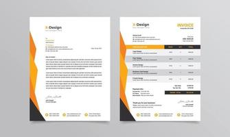 identidad de marca comercial corporativa o membrete de papelería y plantilla de factura vector