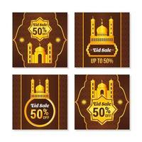 elegantes herramientas de marketing de eid al fitr de oro marrón vector