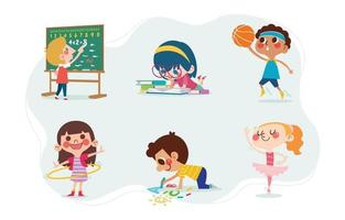 Cute Kids Character with School Activities