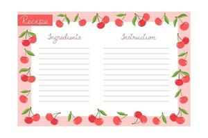 Baking recipe template with cherries, ingredients and instructions vector