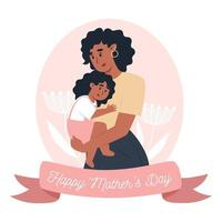Mother's day card, mom holds little daughter in her arms vector