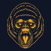 Angry gorilla gold vector illustration