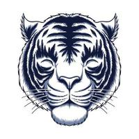 White tiger head vector illustration