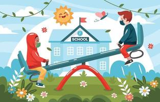 Children Playing Seesaw In the School Garden vector