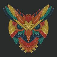 Abstract Colorful Ornament Doodle Robot Owl vector