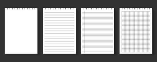 juego de hojas de papel de cuaderno en blanco vector