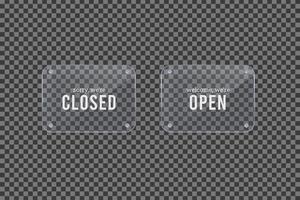 estamos cerrados y estamos abiertos letrero de marco de vidrio vector