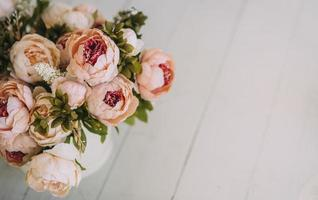 Peonies and copy space photo