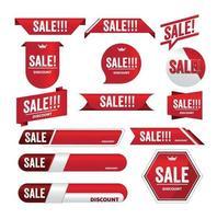 diseño de etiqueta de promoción de banner rojo de venta para marketing vector