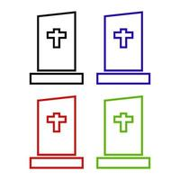 Tombstone Icon On Background vector
