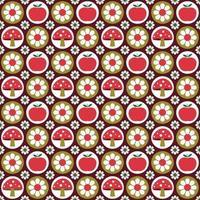 apples mushrooms and daisy retro seamless pattern vector