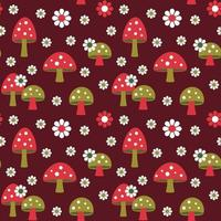 mushrooms and daisy retro seamless pattern on dark red background vector