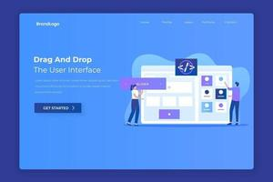 Drag and drop website builder landing page concept vector