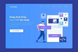 Flat design of drag and drop app builder concept vector