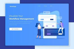 Flat design manage your workflow landing page concept