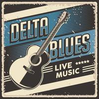 Retro Vintage Delta Blues Live Music Poster Sign vector