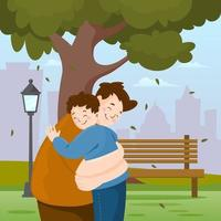Father and Son in the Park vector